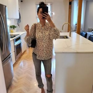 Max Studio floral oversize blouse